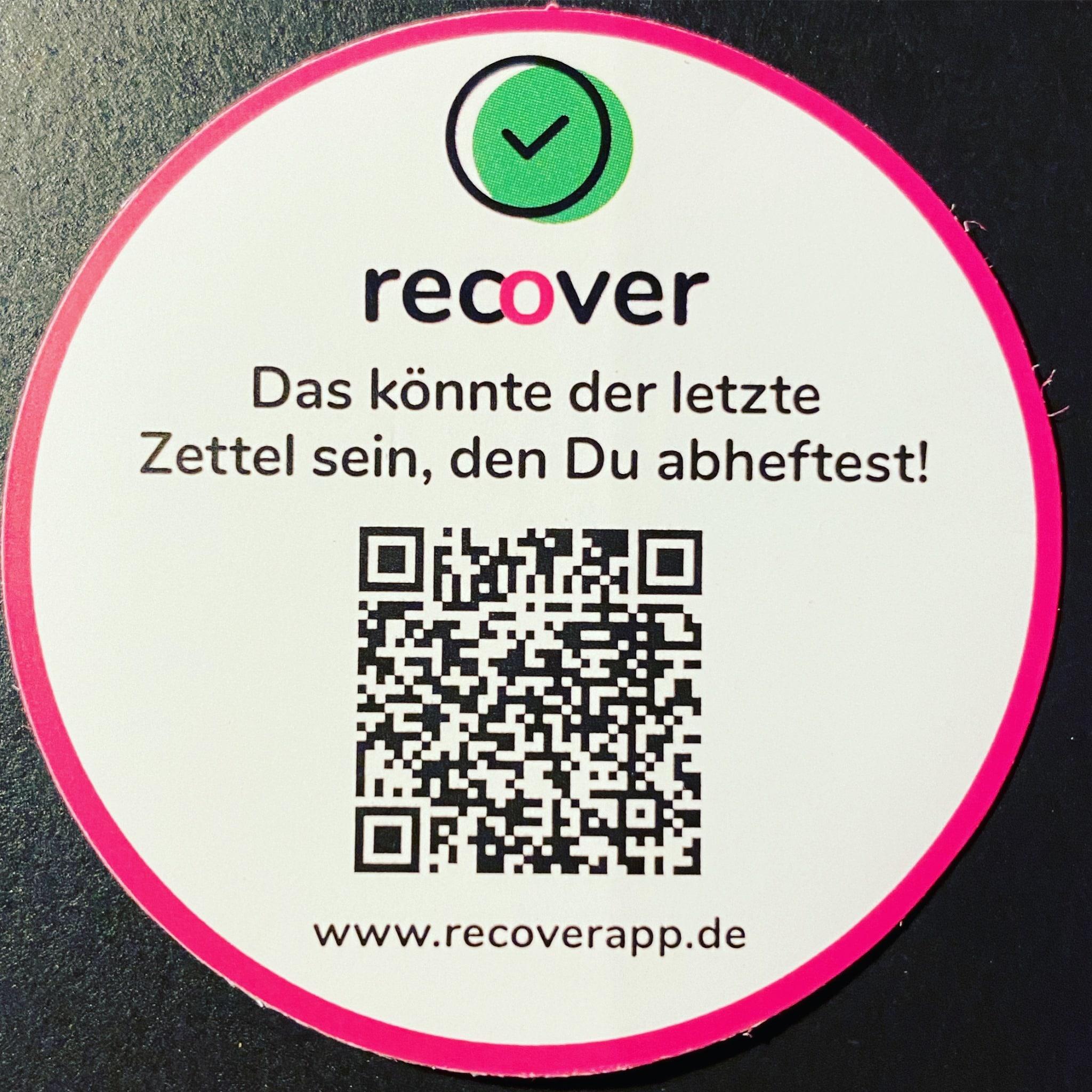recover app Kontaktnachverfolgung für Gastronomie und Handel